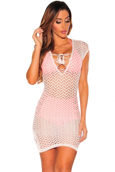 White V Neck Lace up Cover up Dress