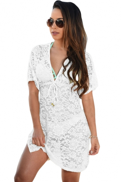 White See-through Lace Cover Up Dress