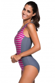 Rosy Striped Sleeveless Rashguard One Piece Swimsuit