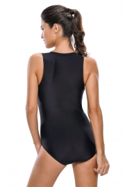 Black Striped Sleeveless Rashguard One Piece Swimsuit