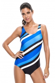 Bluish Oblique Stripes One Piece Swimsuit