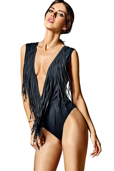 Super Low V Neck Fringed One-piece Swimsuit