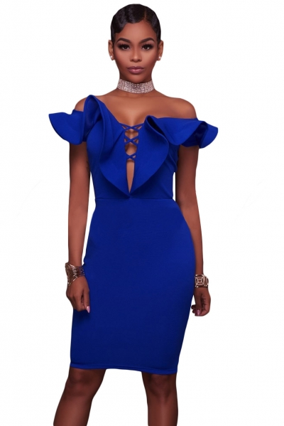 Blue Off Shoulder Ruffle Bodycon Party Dress