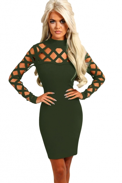 Olive Hollow-out Long Sleeve Mock Neck Bodycon Dress