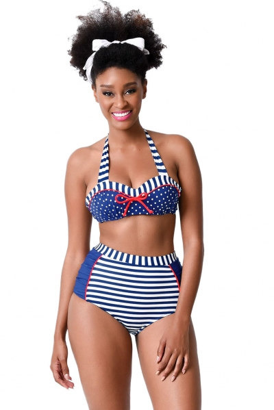 Nautical Navy & White Stripe & Dot High Waist Halter Bikini