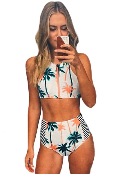 Palm Tree Printed Stripe High Waist Swimwear