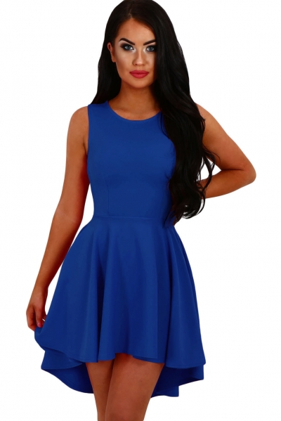 Royal Blue Pleated Hi-low Hem Sleeveless Skater Dress