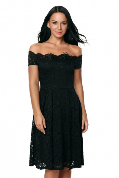 Black Scalloped Off Shoulder Flared Lace Dress
