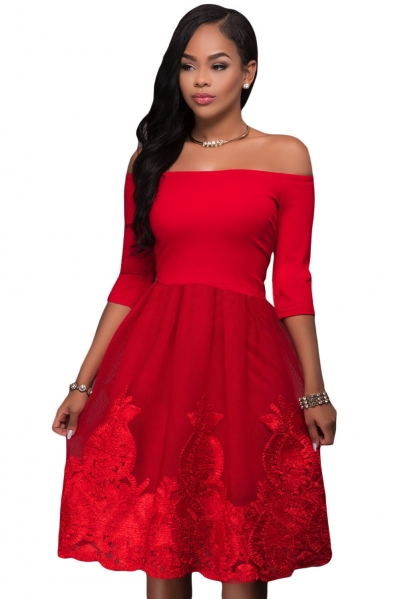 Hot Red Lacy Embroidery Tulle Skirt Skater Dress