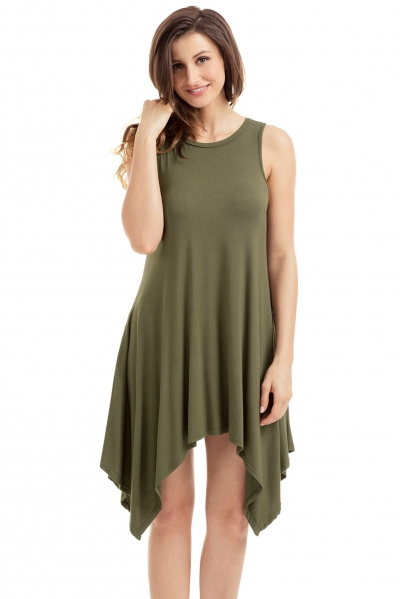 Army Green Draped Asymmetric Hemline Sleeveless Jersey Dress