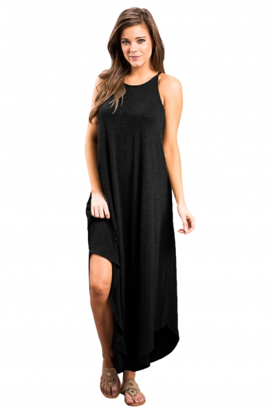 Black Sexy Chic Sleeveless Asymmetric Trim Maxi Dress