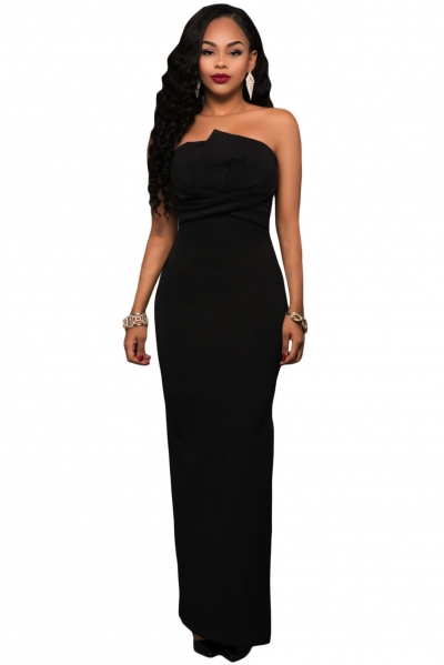 Black Origami Top Strapless Maxi Dress