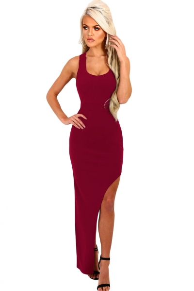 Wine Strappy Side Split Maxi Dress