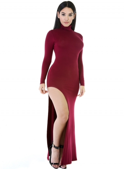 Wine Red Long Sleeves Side Split Slit Jesery Maxi Dress