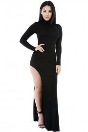 Black Long Sleeves Side Split Slit Jesery Maxi Dress