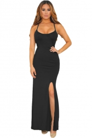 Black Spaghetti Straps Elastic Cutout Back Maxi Dress
