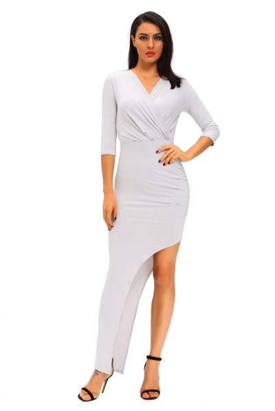 Grey Ruched Slide Slit Maxi Dress