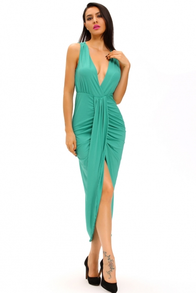 Green Draped Slit Front Maxi Dress