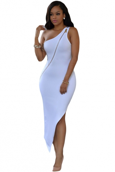 White Single-shoulder Zipped Asymmetric Dress