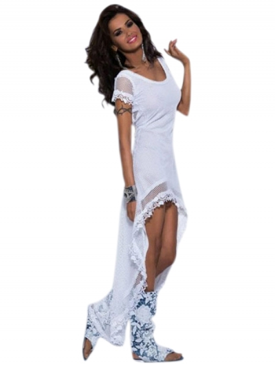 White Darling Power Net Maxi Dress