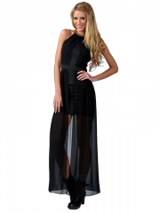 Black Wrinkled Party Maxi Dress