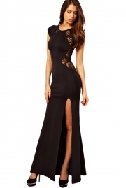 King-size Black Maxi Dress with Lace Back and Fishtail