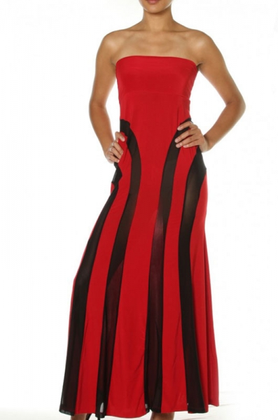 Red Strapless Mesh Insert Convertible Maxi Dress