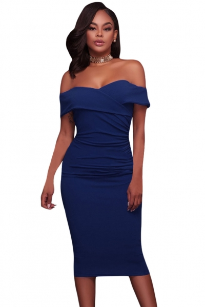 Royal Blue Ruched Off Shoulder Bodycon Midi Dress ZEKELA.com