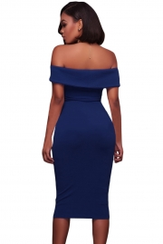 Royal Blue Ruched Off Shoulder Bodycon Midi Dress