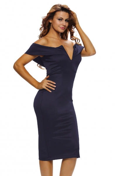 Navy Blue Off-the-shoulder Midi Dress