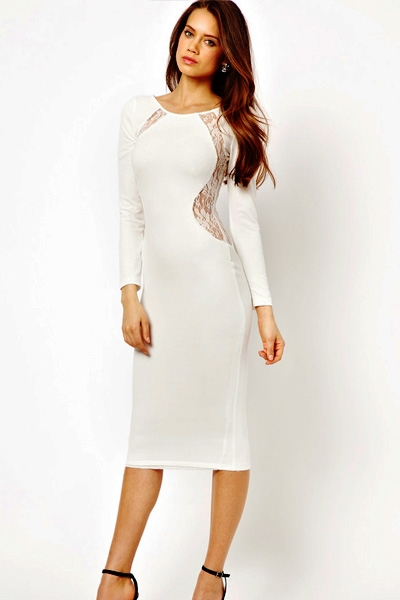 White Long Sleeves Sexy Lace Inset Back Midi Dress