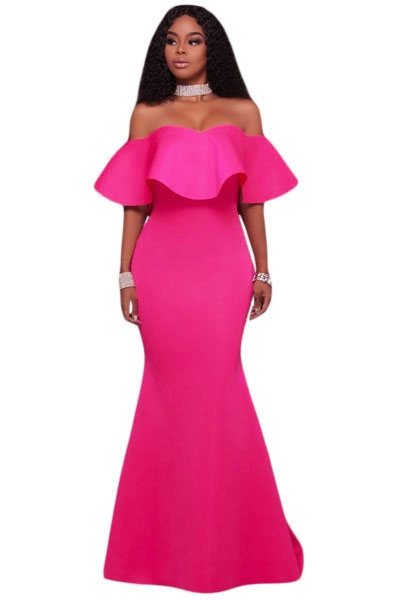 Rosy Ruffle Off Shoulder Ponti Maxi Party Dress