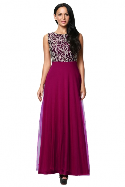 Gold Embroidery Detail Purple Tulle Overlay Evening Dress