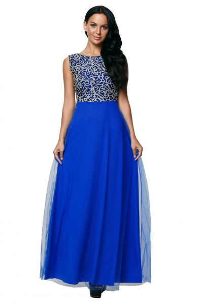 Gold Embroidery Detail Blue Tulle Overlay Evening Dress