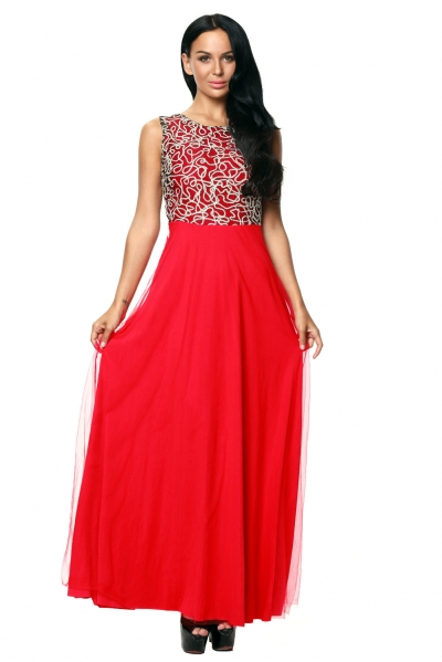 Gold Embroidery Detail Red Tulle Overlay Evening Dress