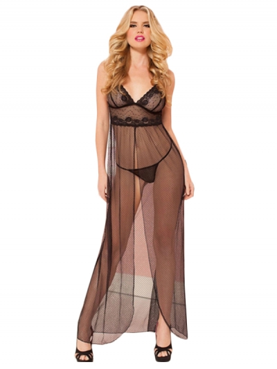 Exquisite Black Sheer Mesh Gown