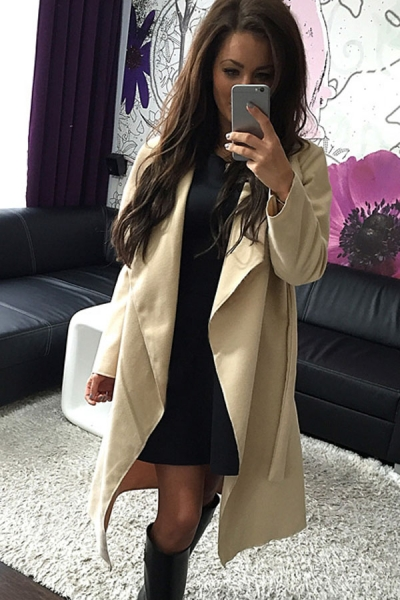 Apricot Self Tie Turn Down Collar Long Sleeve Trench Coat