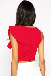 Red One-shoulder Ruffle Crop Top