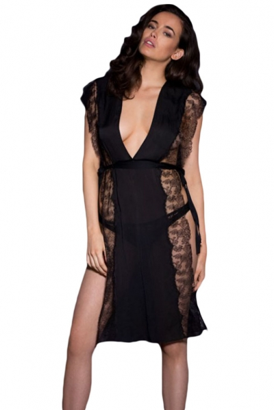 Black Open Side Lace Chiffon Kaftan Gown Set
