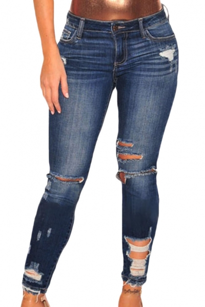 Dark Blue Denim Destroyed Ankle Length Skinny Jeans