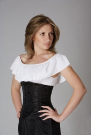Plus Black Floral Brocade Under bust Corset