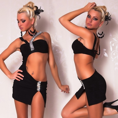 Gogo Mini Dress with Silver Sequins Black