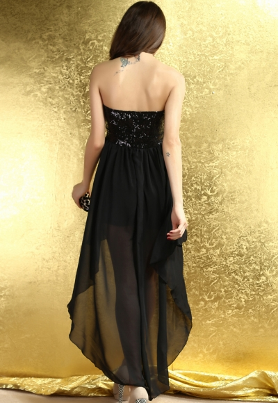 Charming Boulevard Sequined Long Dress Black
