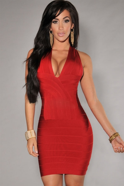 Latest Design Cross Back Bandage Dress