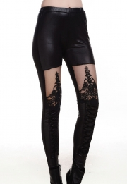 Punk Black Lace-up Faux Leather Gothic Tight Pant