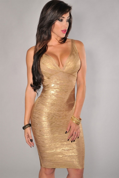 Gold V-neck Foil Detail Crisscross Bandage Dress