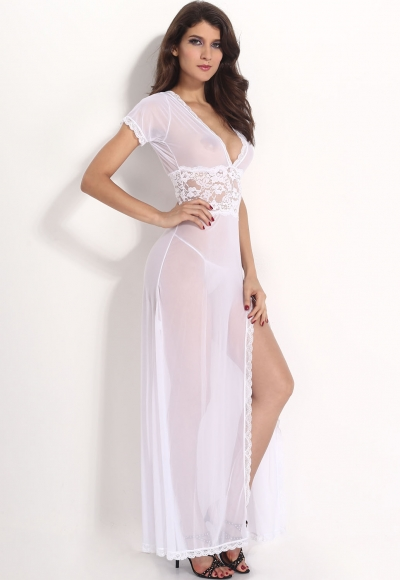 Plus Size White Mesh and Lace V Neck Lingerie Gown