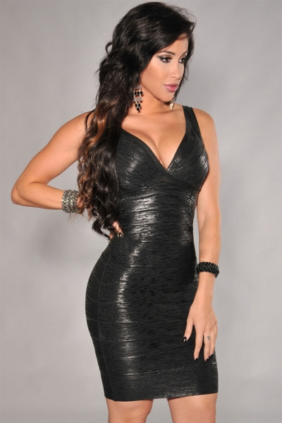 Black V-neck Foil Detail Crisscross Bandage Dress