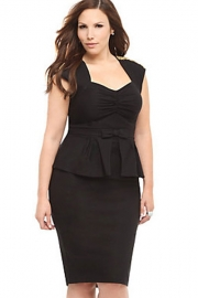 Black Ruched Peplum Dress with Bow