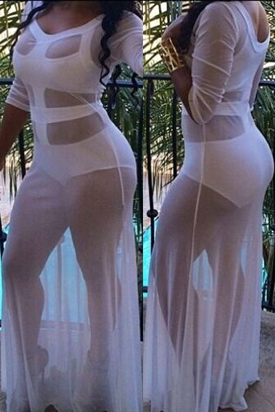 White Sultry See-through Cutout Gown